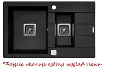 Zlewozmywak z ociekaczem Pyramis ARKADIA (78x48) 1 1/2B 1D grafit metaliczny