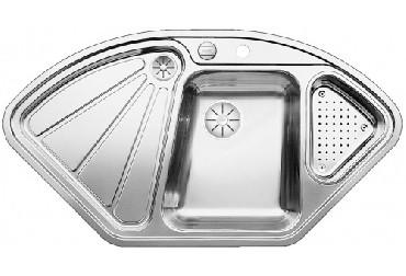Zlewozmywak narożny Blanco DELTA-IF stal szlachetna z korkiem InFino i korkiem automatycznym